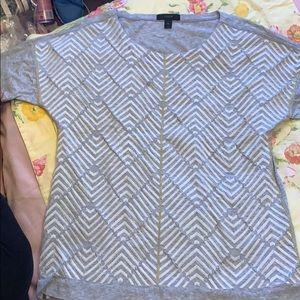 Grey and white J crew shirt